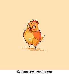 Emoji character cartoon Hen embarrassed - Vector Stock...