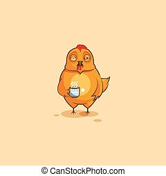 Emoji character cartoon Hen nervous with cup of coffee