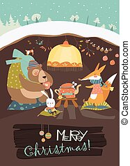 Cute bear with rabbit and fox celebrating Christmas in his...