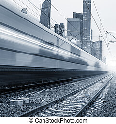 Modern high-speed train. - Modern high-speed train moves...