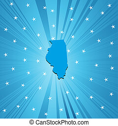 Blue map of Illinois