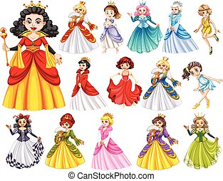 Set of beautiful queens and princess illustration