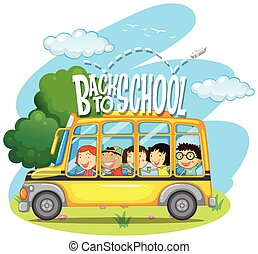 Children riding on yellow school bus illustration