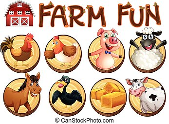 Farm animals on round buttons illustration