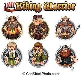 Viking warriors on round badges illustration