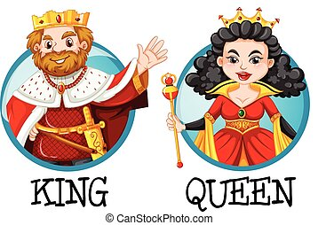 King and queen on round badges illustration