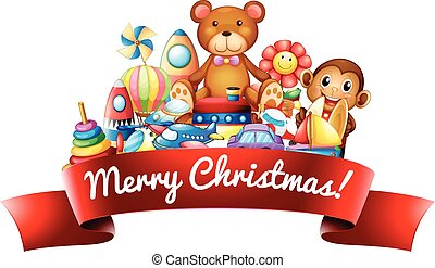 Merry Christmas sign with toys illustration