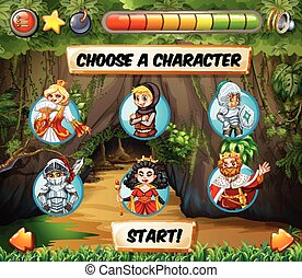 Computer game template with fairytales characters...