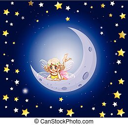 Cute fairy and the moon in the sky illustration