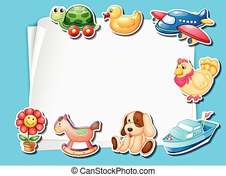 Frame design with many toys background illustration