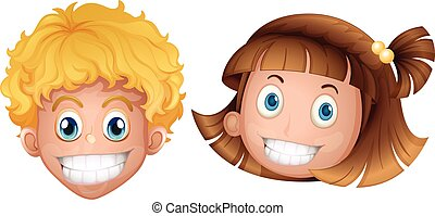 Boy and girl with happy face illustration