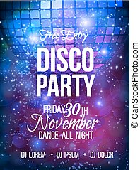 Disco party vector poster template with sparkles and glitter...