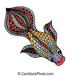 vector Gold Fish - Zentangle vector Gold Fish for tattoo in...