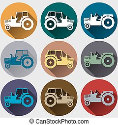 tractor icons flat design - Tractor icons set, flat design...