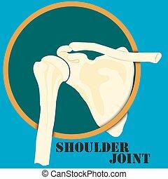 Human shoulder joint, medicine, clinic symbol design, spine...