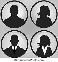User icons set, men and women silhouette, vector