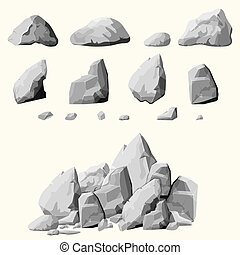 gray stones set - Set of stones, rock elements different...
