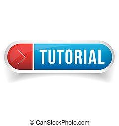 Tutorial button vector blue