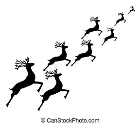 Reindeer running on a white background
