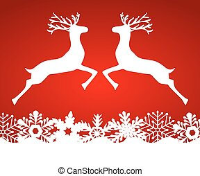 Two reindeer jump to each other on a red background with...