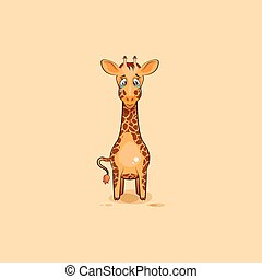 Emoji character cartoon sad and frustrated Giraffe crying -...