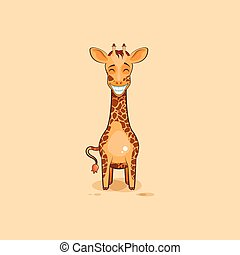 Emoji character cartoon Giraffe with a huge smile -...