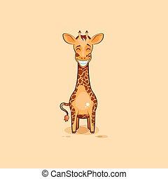 Emoji character cartoon Giraffe with a huge smile -...