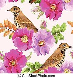 Seamless dog-rose and bird