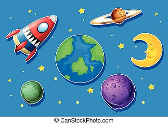 Rocket and many planets in space