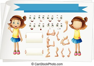 Girl with different body parts illustration