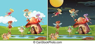Two scenes with fairies at day and night illustration