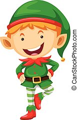 Little elf with happy face illustration
