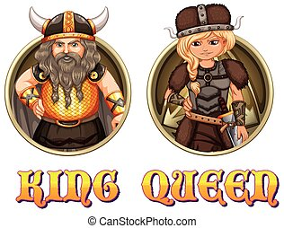 King and queen of vikings illustration