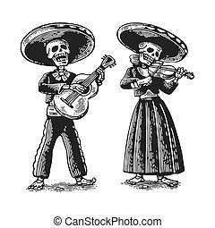 Day of the Dead, Dia de los Muertos . The skeleton in the Mexican national costumes dance, sing and play the guitar.