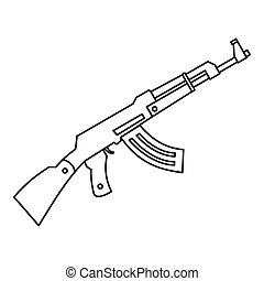 Submachine gun icon, outline style - Submachine gun icon in...
