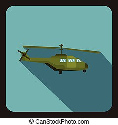 Military helicopter icon, flat style - Military helicopter...