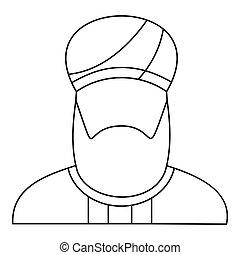 Arabian man in a turban icon, outline style - Arabian man in...