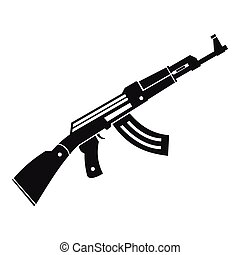 Submachine gun icon, simple style - Submachine gun icon in...