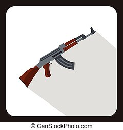 Submachine gun icon, flat style - Submachine gun icon in...