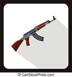 Submachine gun icon, flat style - Submachine gun icon in...
