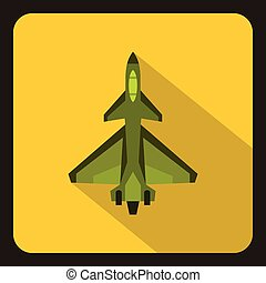 Military fighter jet icon, flat style - Military fighter jet...