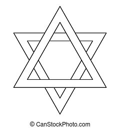 Star of David icon, outline style - Star of David icon in...