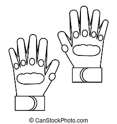Sport gloves icon, outline style - Sport gloves icon in...
