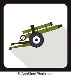 Artillery gun icon, flat style - Artillery gun icon in flat...