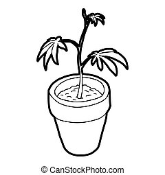 Cannabis plant icon, outline style