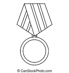 Military medal icon, outline style