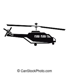 Military helicopter icon, simple style - Military helicopter...