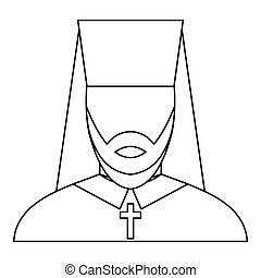Orthodox priest icon, outline style - icon in outline style...