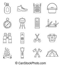 Recreation tourism icons set, outline style