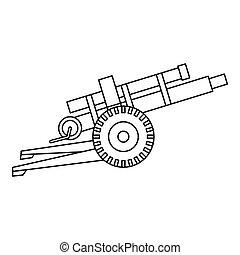 Artillery gun icon, outline style - Artillery gun icon in...